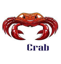 Cartoon red crab with big claws vector image vector image