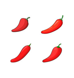 Chilli icon set cartoon style vector