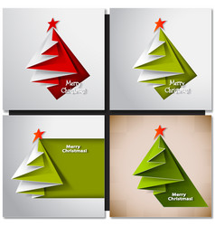 Christmas tree card origami vector image
