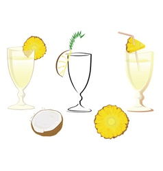 Cocktail glass with ananas and coconut vector