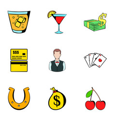 Croupier icons set cartoon style vector