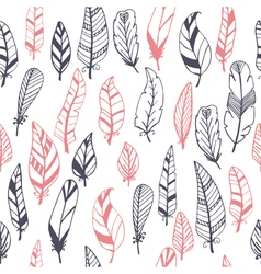 Ethnic seamless pattern with hand drawn feathers vector