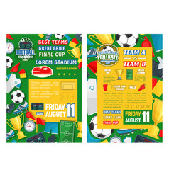 football or soccer sport tournament match banner vector image