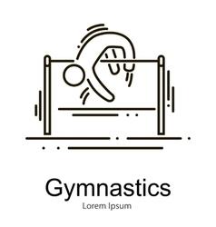 Gymnastics athlete at horizontal bar doing vector image
