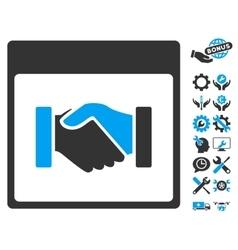 Handshake Calendar Page Icon With Bonus vector image vector image