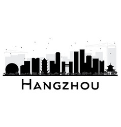 hangzhou city skyline black and white silhouette vector image vector image
