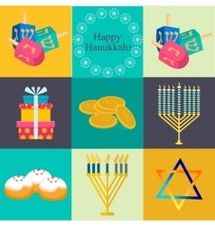 Hanukkah traditional symbols jewish icons set vector