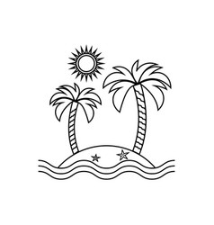 Island linear icon travel tourism sun and palm vector