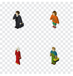 isometric people set of female lady plumber and vector image vector image