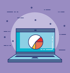 laptop computer with statistics vector image