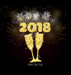 New year champagne toast golden 2018 background vector