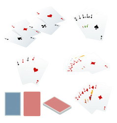 Poker set with isolated cards isolated on white vector