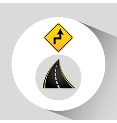 Reverse turn road sign concept graphic vector