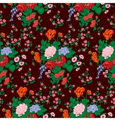 Roses poppies and wild flowers seamless pattern vector