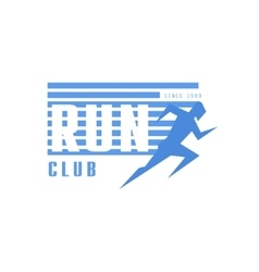 Run club blue label design vector