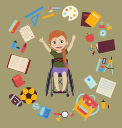 Schoolgirl in wheelchair with school supplies vector