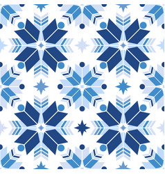 Seamless pattern of geometric snowflakes nordic vector