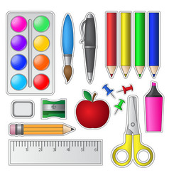 Set of School Tools and Supplies vector image vector image