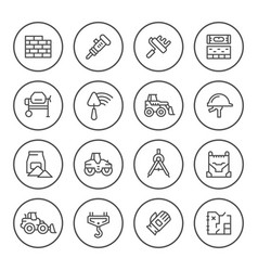 Set round line icons of constructing industry vector