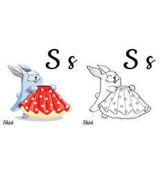 skirt alphabet letter s coloring page vector image vector image