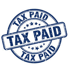Tax paid blue grunge round vintage rubber stamp vector