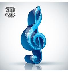 Treble clef 3d blue music design element vector image