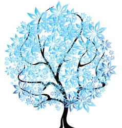 Tree in snow vector image vector image