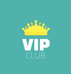 Vip club logo with royal golden king crown diadem vector