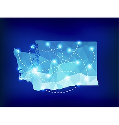 Washington state map polygonal with spotlights vector
