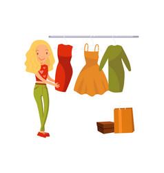 woman choosing dress during shopping girl buying vector image