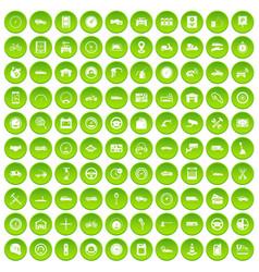 100 garage icons set green vector