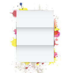White paper on splatter background vector