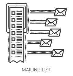 Mailing list line icons vector