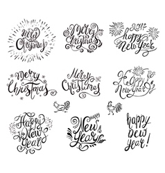 Happy new year and merry christmas text vector