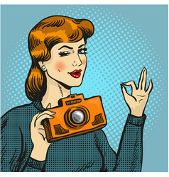 Woman taking photo in pop vector