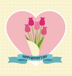 Happy mothers day card heart bouquet flowers vector