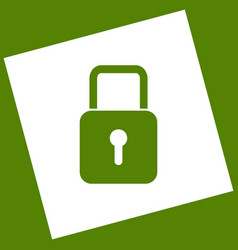 Lock sign   white icon vector