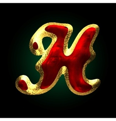 Golden and red letter h vector
