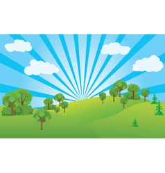 Summer landscape with green nature vector