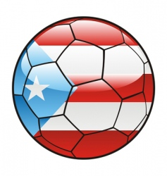 Porto rico flag on soccer ball vector