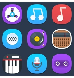 Set of sound and music mobile icons in flat design vector