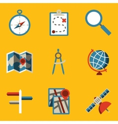 Flat icon set navigation vector