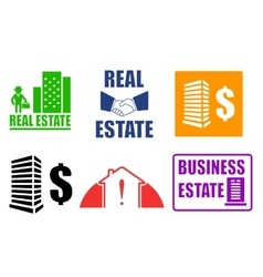 Set business estate icons vector