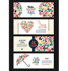 Fall set leaves composition banners of season vector