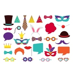 Party birthday photo booth props vector
