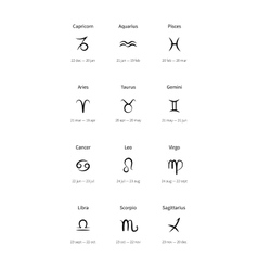 Signs of the zodiac black icons vector