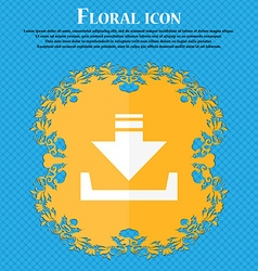 Restore icon floral flat design on a blue abstract vector