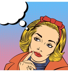 Woman thinking pretty girl doubts pop art vector
