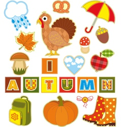 Autumn set textile element vector