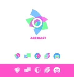 Creative abstract circle logo icon pastel set vector